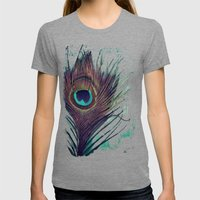Peacock Feather Womens Fitted Tee Tri-Grey SMALL
