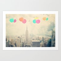Balloons over the City Art Print