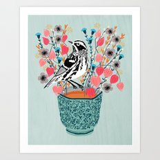 Tea and Flowers - Black and White Warbler by Andrea Lauren Art Print