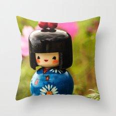 Kokeshi Love Throw Pillow