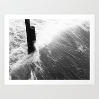 Churning Surf Amongst The Pier Art Print