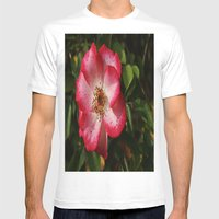 Pink Flower Mens Fitted Tee White SMALL