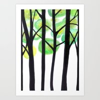blacks trees Art Print