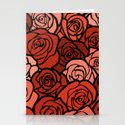 Romantic Orange roses with black outline Stationery Cards