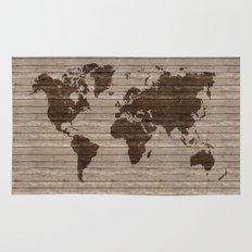 Rustic world map Rug