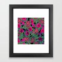 vivid pink petunia on black background Framed Art Print