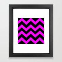Black & Pink Chevron Lin… Framed Art Print