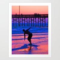 Neon Skimboarder Art Print