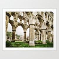 Cloisters of Rievaulx Abbey Art Print
