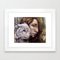 The Girl And The Wolf Framed Art Print