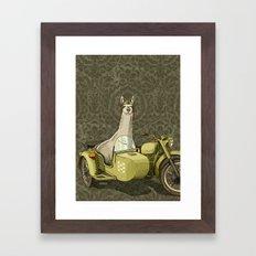 Sidecar Llama Framed Art Print