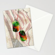 Military Art Dog Tags - Honor  2 - By Sharon Cummings  Stationery Cards