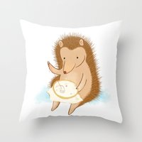 Hedgehog Stitching A Hed… Throw Pillow