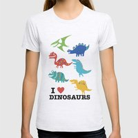 I Love Dinosaurs Womens Fitted Tee Ash Grey SMALL