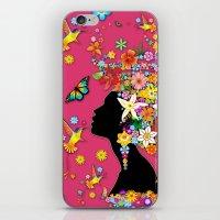 Hummingbird Kiss on Floral Girl  iPhone & iPod Skin