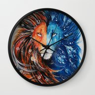 Fire And Ice Lion Wall Clock