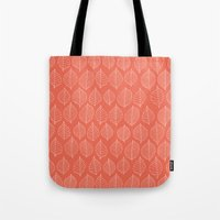 Coral Leaves Tote Bag