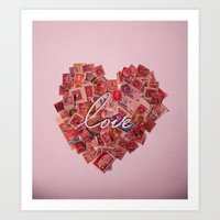 Love Letters - Pink Stam… Art Print
