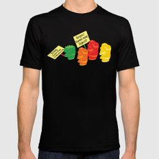 Stop Gummibear Cruelty! SMALL Black Mens Fitted Tee