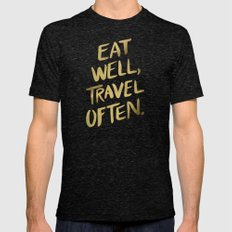 Eat Well Travel Often on Gold Mens Fitted Tee Tri-Black SMALL