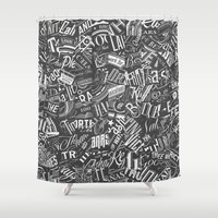 Typography Pattern Shower Curtain