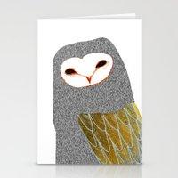 Barn owl, owl art, owl illustration, owls, nature, animal art,  Stationery Cards