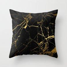 Black-Gold Marble Impress Throw Pillow