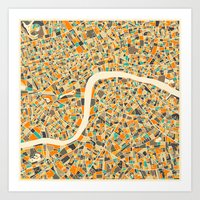 london Art Prints featuring LONDON MAP by Jazzberry Blue