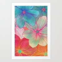 orange Art Prints featuring Between the Lines - tropical flowers in pink, orange, blue & mint by micklyn