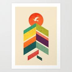 Lingering Mountains Art Print