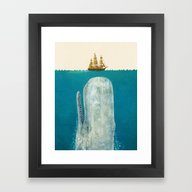 Framed Art Print featuring The Whale  by Terry Fan
