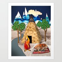 Travel Napping Art Print