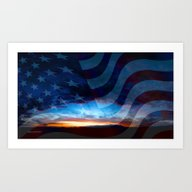 Sunset And American Flag… Art Print