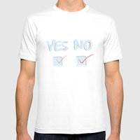 Yes No Mens Fitted Tee White SMALL