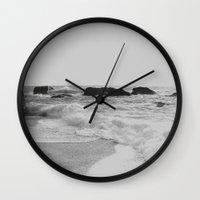 Greek Seascape - Black A… Wall Clock