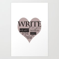 Write It On Your Heart Design Art Print