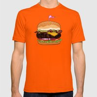 Bacon Cheeseburger Mens Fitted Tee Orange SMALL