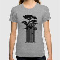 Barcode Trees Illustrati… Womens Fitted Tee Tri-Grey LARGE