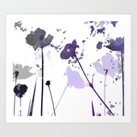 Field of Flowers Indigo Art Print