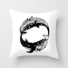 Having Fun (Whales) Throw Pillow