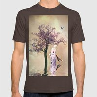 Blossom Angel Mens Fitted Tee Brown SMALL