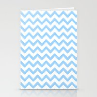 funky chevron blue pattern Stationery Cards