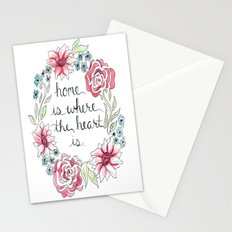 Home Is Where The Heart Is Flowers Stationery Cards