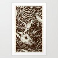 deer Art Prints featuring doe-eyed by Teagan White