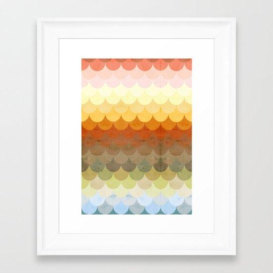 Half Circles Waves Color Framed Art Print