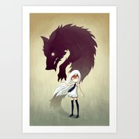dog Art Prints featuring Werewolf by Freeminds