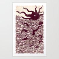 Octopus The Rising Sun II Art Print