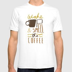 Coffee White Mens Fitted Tee SMALL