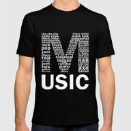 Chalkboard Music Genres Mens Fitted Tee Black SMALL