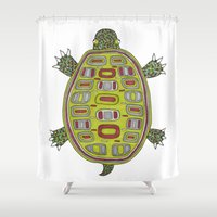 Tiled turtle Shower Curtain